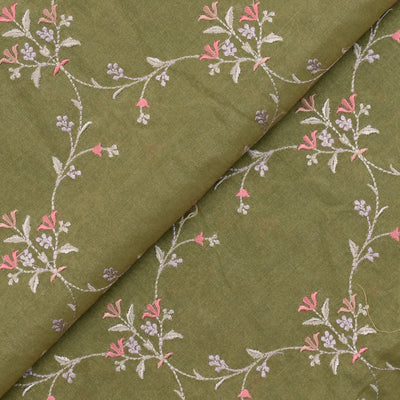 Olive Green With Gold Tussar Fabric With Ogee Design Multi Thread Floral Embroidery