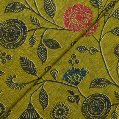 Olive Green Maheshwari Silk Fabric