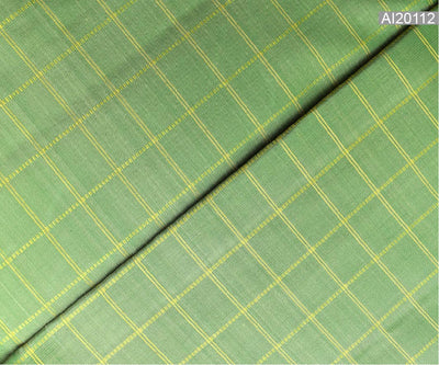 Apple Green Kanchi Silk Fabric With Zari Kattam Design