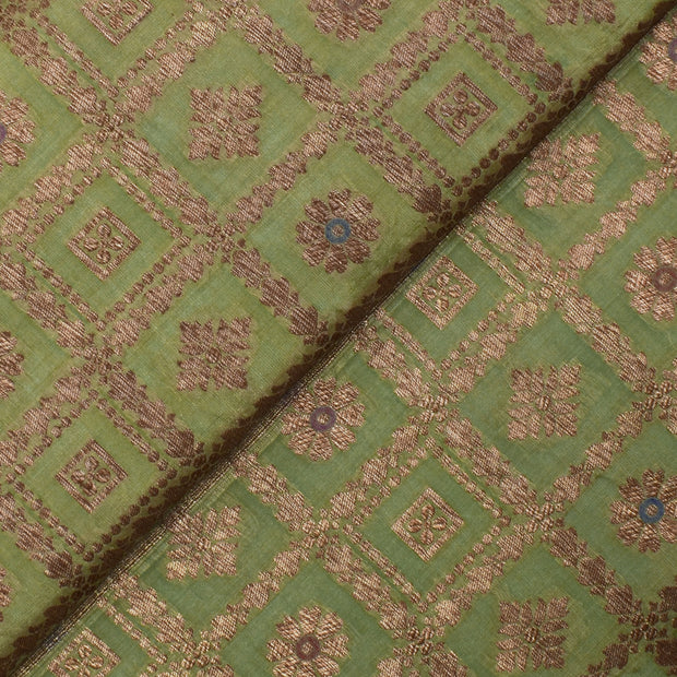 Apple Green Antique Zari Kattam Floral Butta Banarasi Silk Fabric