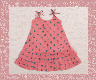 Bhadra - Peach With Green Circle Printed Frock (3yrs)