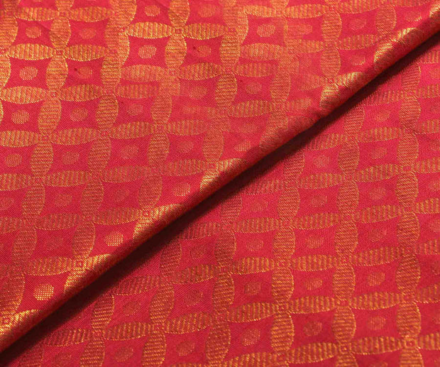 Crimson Red Kanchi Silk Fabric With Zari Buttas