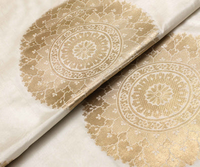 Half White Banarasi Silk Fabric With Zari Highlights