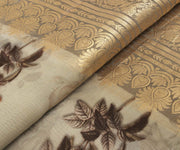 Sand Tussar Fabric with Floral Printed Design with Wide Border