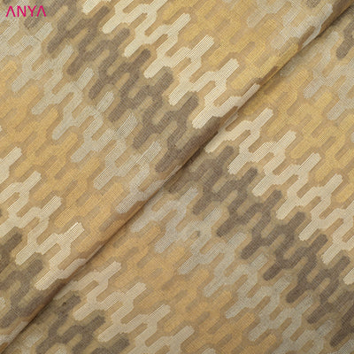 Half White Tussar Fabric With Symmetrical Pattern Butta  Highlighted