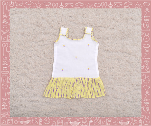 Narmada - Hand embroidered Yellow dots and stripes printed frock (3-6months)