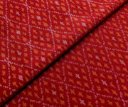 Red Diagonal Ikkath Silk Fabric