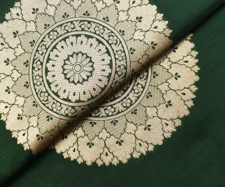 Forest Green Banarasi Silk Fabric With Gold Zari Butta Highlights