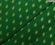 Forest Green Kanchi Silk Fabric With Leaf Button Design Highlights