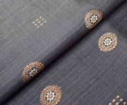 Dark Grey Tussar Fabric With Gold And Silver Zari Butta Highlights