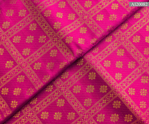 Rose Kanchi Silk Fabric With Self Butta And  Kattam Design