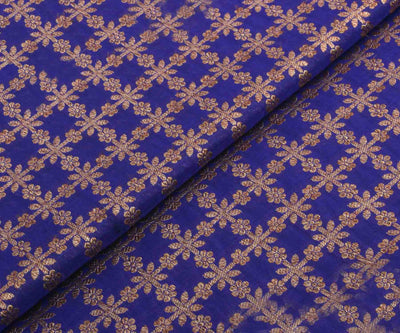 Pepsi Blue Banarasi Silk Fabric with Antique Design