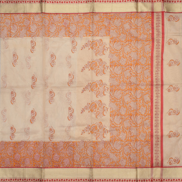 Half White  Floral Printed Kota Cotton Saree With Half White Blouse And Thread Zari Border