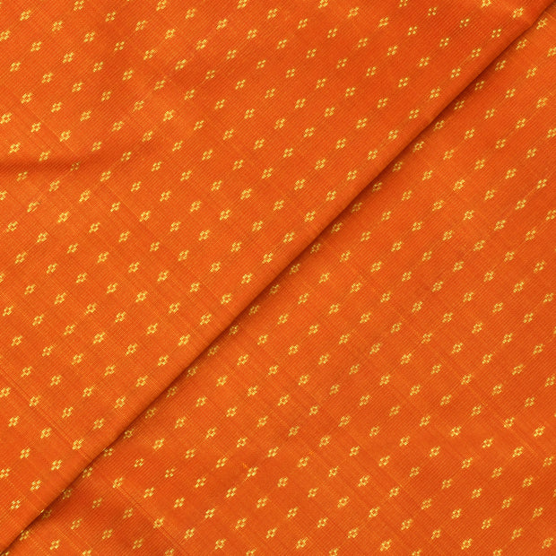 Orange Kuligai  Button Kanchi Silk Fabric