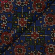Dark Blue Patan Patola Silk Fabric With Border