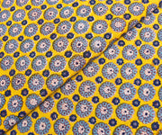 Yellow Floral Printed Cotton Fabric
