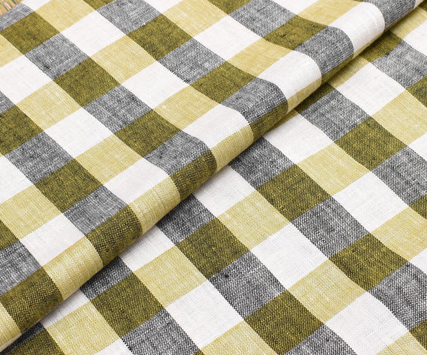 Half White Checked Linen Fabric