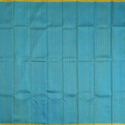 Turquoise Blue Kattam Kanchi Silk Saree With Mustard Pallu And Blouse