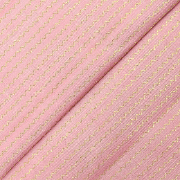 Peach Neli Zari Kanchi Silk Fabric