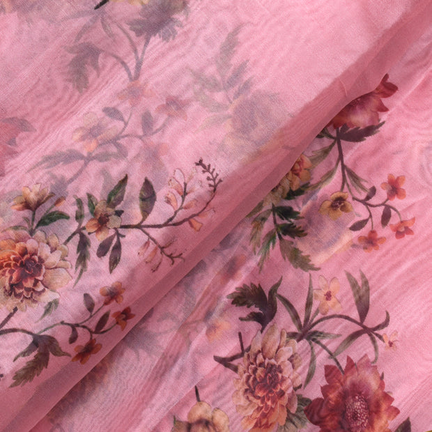 Peach Floral Printed Organza Fabric