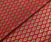 Red Banarasi Silk Fabric With Multicolor Zari Butta Highlights