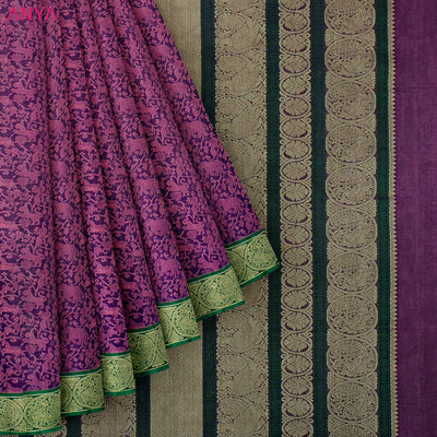 Magenta Kanchi Cotton Saree