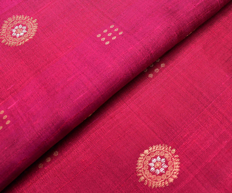 Rose Tussar Fabric With Gold And Silver Zari Butta Highlights