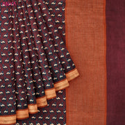 Burgundy Tussar Saree