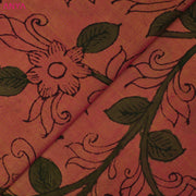 Dual Tone Pink And Mustard Pen Kalamkari Fabric