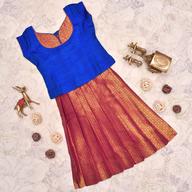 Blue Top With Red Skirt