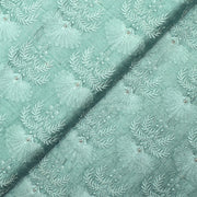 Pearl Green Tussar Embroidered Fabric