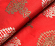 Red Banarasi Silk Fabric With Antique And Gold Zari Butta Design Highlights