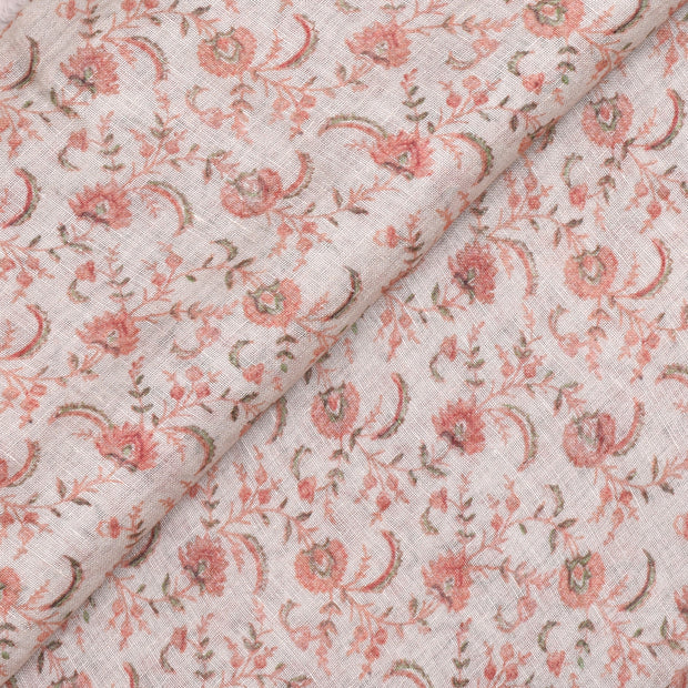 Half White Linen Fabric With Orange And Green Floral Printed Design And Silver Zari Border