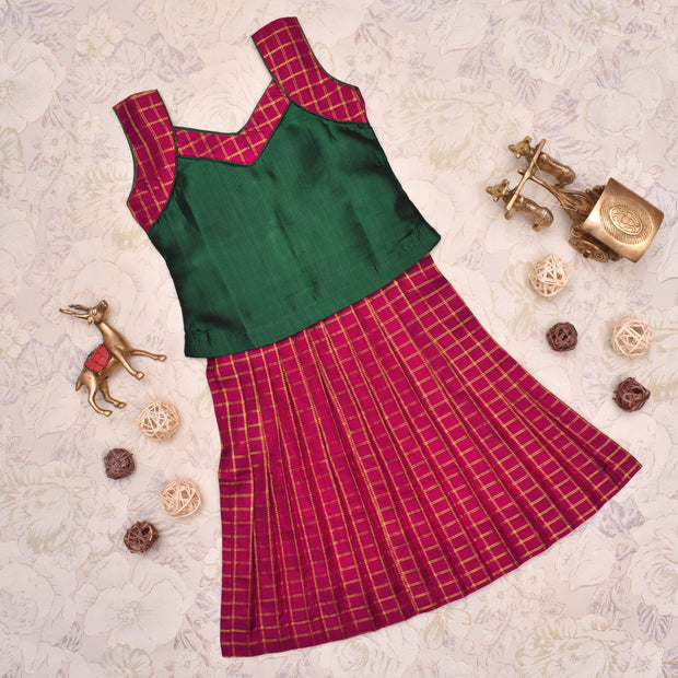 Red With Bottle Green Frock