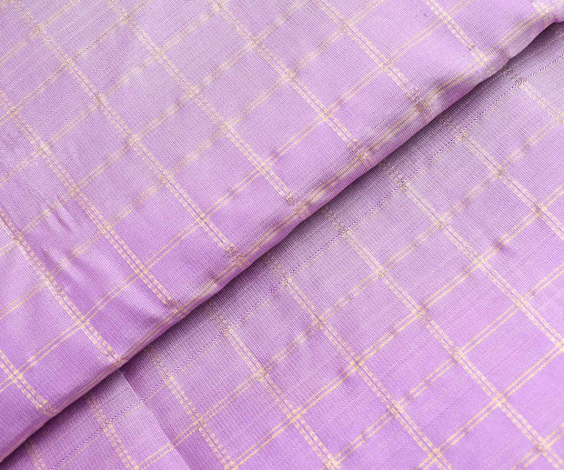 Lavender Checked Kanchi Silk Fabric