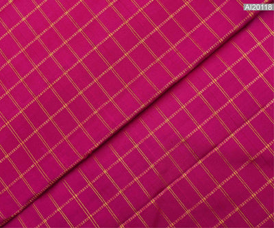 Rose  Kanchi Silk Fabric With Zari Kattam Design