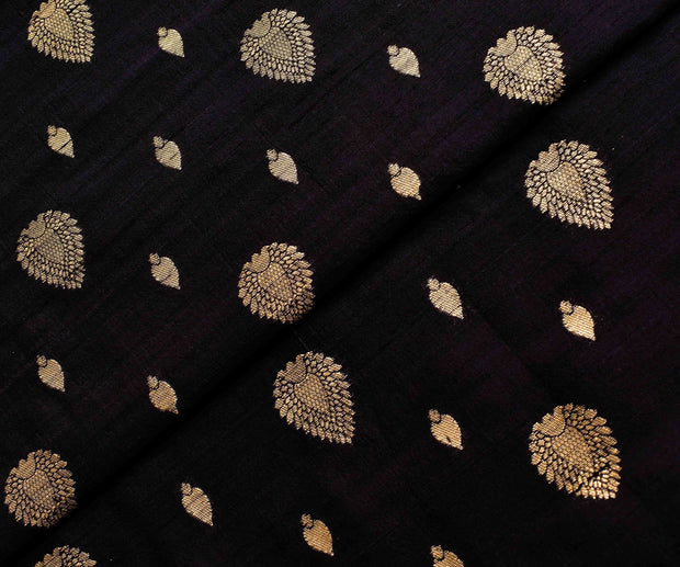 Black Tussar Fabric With Gold Zari Butta Highlights