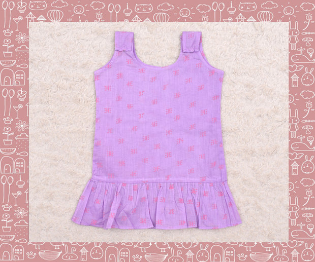 Kaveri - Lavender Frill Dot And Stripe Printed Frock (6-12months)