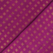 Magenta Star Button Kanchi Silk Fabric