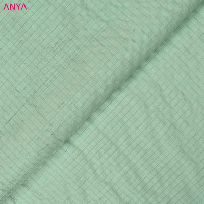 Mint Green Checked Tussar Fabric