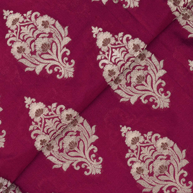 Ruby Red Floral Antique And Gold Zari Banarasi Silk Fabric