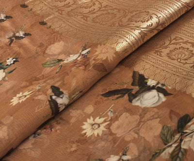Sienna Brown Tussar Fabric with Floral Printed Design and Wide Border