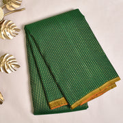 Bottle Green Kanchi Silk Saree With Red Blouse