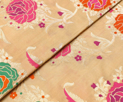 Half White Multi Floral Banarasi Silk Fabric With Zari Highlights