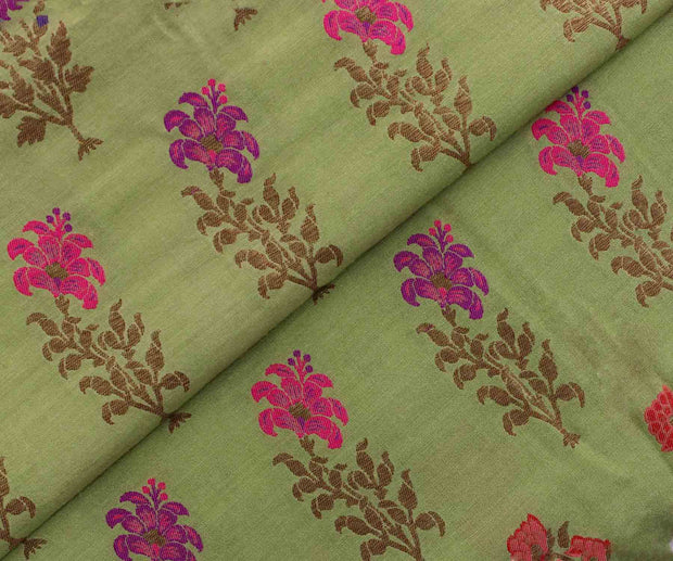 Apple Green Banarasi Silk with Multi-Color Zari Buttas