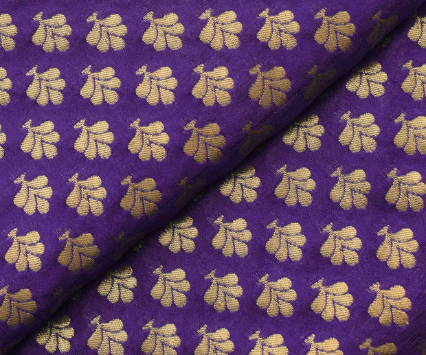 Purple Semi Banarasi Silk Fabric With Floral Zari Butta Highlights