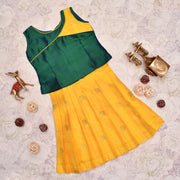 Dual Tone Blue And Green Top With Mustard Skirt