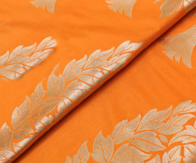 Orange Banarasi Silk Fabric With Floral Zari Highlights