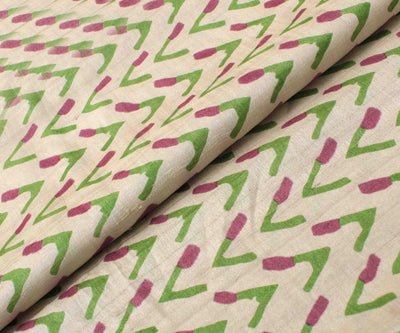 Half White Tussar Fabric With Printed Designs