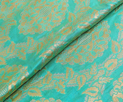 Turquoise Banarasi Silk Fabric With Floral Zari Highlights